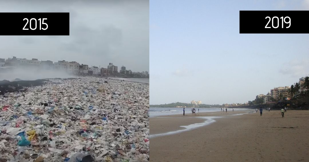 Versova beach before and after